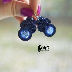 Blue zircons soutache earrings orecchini por MrOsOutache en Etsy