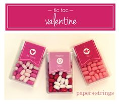 paper and strings studios: tic tac valentine Lily Valentine, Tic Tac Valentine, Valentines Day Party, Valentine Day Crafts, Valentine Ideas, Valentine Stuff, Party Favors For Adults, Happy Hearts Day, Valentine's Day Diy