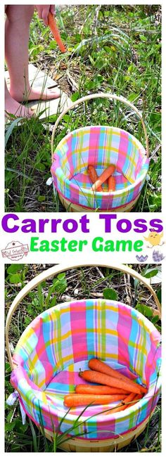 Carrot Toss - A Fun and Easy Easter Game to Play- Carrot Toss – A Fun and Easy Easter Game to Play Play this fun Carrot Toss Game – An Easy Easter Game to Play and even easier to set up. It's perfect for family, kids, preschool or even church games! Easter Party Games, Diy Party Games, Easter Eggs Kids, Easter Activities For Kids, Easter Hunt, Birthday Games, Easter Crafts For Kids, Kids Fun, Ideas Party