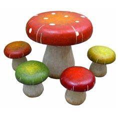 I have a vision for a girl's room: fairy theme with toadstool chairs (plush, made by me) and the table would look like a stump. Heck... maybe I could just make it for myself.
