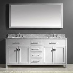 Caroline White Undermount Double Sink Oak Bathroom Vanity with Natural Marble Top (Common: 72-in x 22-in; Actual: 71.9-in x 22.1-in)