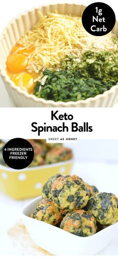 Spinach balls - Keto Appetizer 1 g net carb - Sweetashoney - KETO SPINACH BALLS 1 g net carb per serve easy, healthy, gluten free # - Ketogenic Recipes, Low Carb Recipes, Diet Recipes, Healthy Recipes, Flour Recipes, Chili Recipes, Smoothie Recipes, Vegetarian Recipes, Spinach Balls