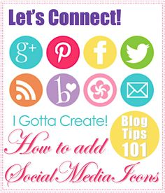 Great tutorial with link to social media button resource via I Gotta Create!