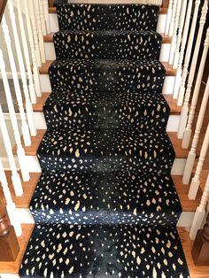 Patterned Stair Runner. Staircase. Animal Print Carpet. Wood Newel Posts. Carpet  Stairs