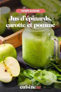 Ce jus d'épinards, carotte et pomme est à préparer dans un blender. #recette#cuisine #jus #epinard #carotte #pomme Jus Detox, Nutrition, Calories, Pickles, Cantaloupe, Cucumber, Food And Drink, Cooking, Blender