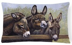 Donkeys by Daphne Baxter Fabric Decorative Pillow BDBA0235PW1216