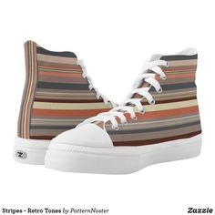 Stripes - Retro Tones High Tops #shoes #fashion #sneakers #gifts #stripes