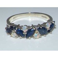 Marquise Natural Blue Sapphire & Opal Solid English 925 Sterling Silver Eternity Promise Ring -Made in England- Supplied in Your Finger Size