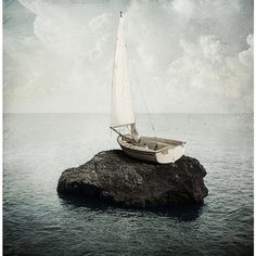 Amazing Surreal Photo-manipulation by Sarolta Ban ❤ liked on Polyvore featuring surreal, backgrounds, art, boat and pics