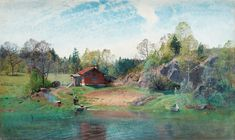 Alfred Thörne (1850-1916), Paysage lacustre - 1890