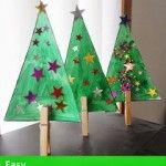 Christmas Tree Craft with wooden pegs