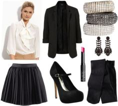 Whit Fall 2011 outfit 3 - Black flounce skirt, white button-down shirt, black blazer, black mary-jane pumps, opaque tights, earrings, bracel...
