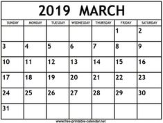 image regarding Printable March Calendar Pdf referred to as 150 Suitable Cost-free March 2019 Calendar Printable Templates pictures