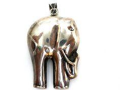 Elephant Pendant Sterling Silver Figural Slide For Necklace Vintage
