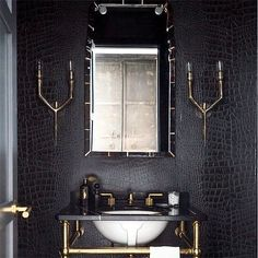 Guest bathroom Crocodile Wallpaper in Powder Room Bridal Jewelry and The Dress We all know that when Black And Gold Bathroom, White Bathroom, Bathroom Interior, Silver Bathroom, Bathroom Ideas, Bathroom Designs, Look Wallpaper, Bathroom Wallpaper, Wallpaper Ideas