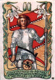 Katharine Cameron ~ Sir Galahad and the Sacred Cup ~ Stories of King Arthur's Knights ~ 1907 ~  My Strength Is as the Strength of Ten Because My Heart is Pure
