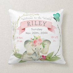 Baby Girl Birth Stats Cute Elephant Throw Pillow - An adorable baby elephant with flowers in its hair with your baby's birth stats. Sold at DancingPelican on Zazzle. Cute Elephant, Elephant Nursery, Girl Nursery, Nursery Decor, Nursery Ideas, Nursery Art, Bedroom Ideas, Mermaid Nursery, Newborn Nursery