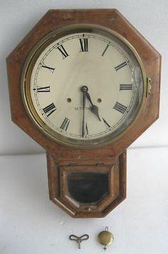 Vintage Seth Thomas Drop Octagon 8 Day Wall Clock With original
