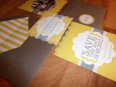 Our yellow and grey wedding save the dates, they sell that punch at hobby lobby and michaels!