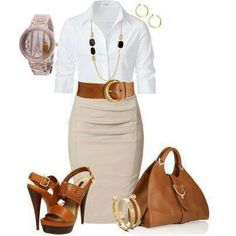 White button down + wide belt + tan skirt