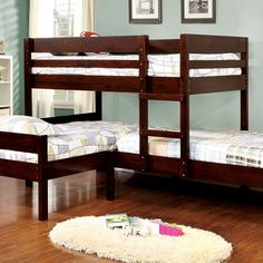 Our Charlotte corner triple bunk bed in cappuccino is an innovative way to sleep three kids in one room. Add the matching twin size trundle bed to sleep four k Corner Bunk Beds, Bunk Bed With Trundle, Bunk Beds With Stairs, Cool Bunk Beds, Twin Bunk Beds, Kids Bunk Beds, Triple Twin Bunk Bed, Triple Bed, Twin Twin