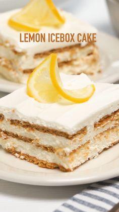 Lemon Desserts, Lemon Recipes, Frozen Desserts, No Bake Desserts, Easy Desserts, Sweet Recipes, Baking Recipes, Best Easy Dessert Recipes, Dessert Cake Recipes