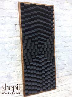 Acoustic Wall, Acoustic Panels, Large Wood Wall Art, Wood Art, Diffuser Diy, Wood Wall Design, Rustic Floating Shelves, Coastal Wall Art, Modern Sculpture