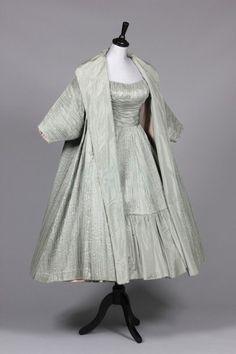 Ceil Chapman mint-green tree-bark taffeta evening gown and matching coat, mid 1950s.