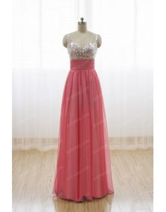 Cheap DeepPink A line princess Sweetheart Long Chiffon prom dresses with Sequins