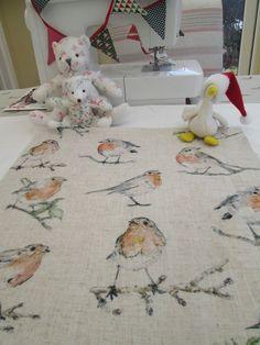 BN Very Lovely Clarke & Clarke Cotton Duck Linen Look Remnant In Robins