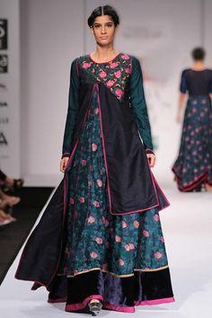 6fbedb8d1aec4 Floral Printed Maxi Dress with Navy Asymmetric Top - Shruti Sancheti -  Designers Asymmetrical Tops