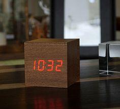 LED Teak Cube Click Clock. By Gingko Electronics