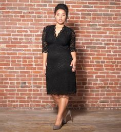 Plus Size 3/4 Sleeved Scalloped Boudoir Lace Dress - Black Lace/black Lining Kiyonna, http://www.amazon.com/dp/B0019FX73W/ref=cm_sw_r_pi_dp_ljdcrb0ZY9PT7