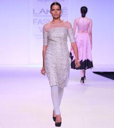 Pale Blue Embroidered Linen & Net Kurta Set