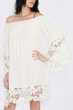 Lace Trim Off-The-Shoulder Dress on ShopStyle
