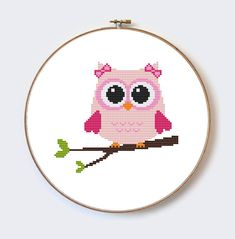 Pink Owl On Branch modern cross stitch pattern  perfect for