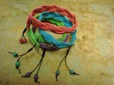 Fun foam bracelet.  Make a magic plait and add a shambala fasten finished with co-ordinated beads.