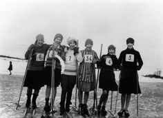 Elegant women participating in a skiing competition, Finland Ski Lodge Decor, Vintage Ski, Winter Sports, Helsinki, Elegant Woman, Good Old, Old Photos, Finland, Skiing
