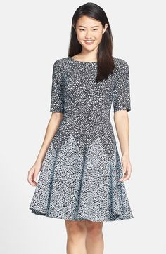 Gabby Skye Print Ponte Fit & Flare Dress available at #Nordstrom