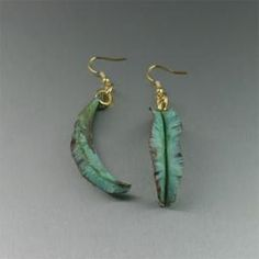 Fold Formed Apple Green Copper Leaf Earrings from the John S. Brana Muir Woods Collection