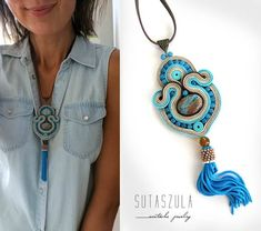 Your place to buy and sell all things handmade Soutache Pendant, Soutache Necklace, Blue Necklace, Stone Necklace, Tassel Jewelry, Statement Jewelry, Tassel Necklace, Diy Jewellery, Shibori