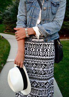 LK- Tribal Print maxi skirt with denim jacket.
