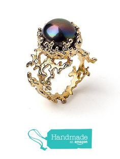 18k Yellow Gold Plated Sterling Silver, Large 12mm Black Peacock Freshwater Cultured Pearl, Coral Reef Organic Statement Ring, Size 4 to 13 from Arosha https://smile.amazon.com/dp/B015OSUNRC/ref=hnd_sw_r_pi_dp_wahEybMHZ8GM1 #handmadeatamazon