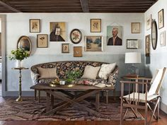 A quirky arrangement of vintage botanical prints and oil paintings to reinforce the collected-over-time vibe.