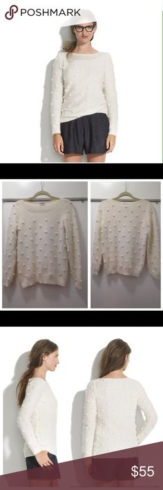 Madewell Wallace Balladeer sweater size Med Super cute Wallace for Madewell Balladeer sweater. Features super soft dreamy angora. All over balls attached to sweater, knit lattice neckline accent, pullover style & angora nylon blend. Retails at $118- great used shape Madewell Sweaters