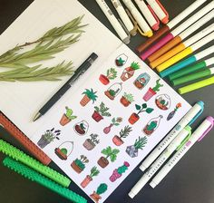 "64 Likes, 3 Comments - Aubrey (@bujo.aubrey) on Instagram: ""Plant doodles #bulletjournal#bulletjournaling#bulletjournalnewbie…"""
