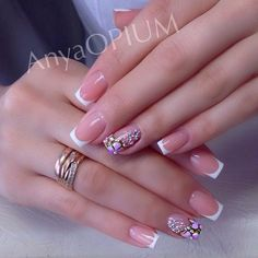Acrylic Nails Coffin Pink, French Tip Acrylic Nails, Natural Acrylic Nails, Acrylic Nail Designs, Nail Art Designs, Turqoise Nails, Baby Pink Nails, Stylish Nails, Trendy Nails