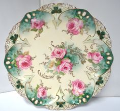 RS Prussia Plate in Point and Clover Mold 82 with Jewels Pink Roses