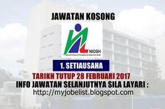 Jawatan Kosong Terkini di NIOSH Pada 28 Februari 2017  Jawatan kosong terkini di Institut Keselamatan dan Kesihatan Pekerjaan Negara (NIOSH) Februari 2017. Permohonan adalah dipelawa daripada warganegara Malaysia yang berumur tidak kurang daripada 18 tahun ke atas pada tarikh tutup iklan jawatan dan berkelayakan untuk mengisi kekosongan jawatan kosong terkini di Institut Keselamatan dan Kesihatan Pekerjaan Negara (NIOSH) sebagai :1. SETIAUSAHATarikh tutup permohonan 28 Februari 2017 Lokasi…