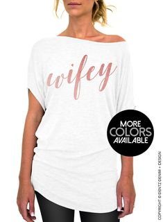 Mrs Shirt - Rose and Pearl Collection - White Longer Length Slouchy Tee (Small - Plus Sizes) - Gold Rose Gold Silver Ink Available by DentzDesign slouchy sweater off the shoulder Army Mom Shirts, Groom Shirts, Bride Shirts, Tee Shirts, T Shirts For Women, Gypse, Mrs Shirt, Bridesmaid Shirts, Bridesmaids